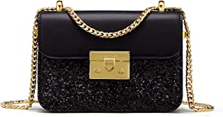 Ladies' Fashion Shoulder Chain Purse Small Glitter Side Bag for Girls PU Leather
