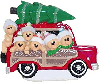 Personalized Woody Wagon Family of 6 Christmas Tree Ornament 2019 - Parent Child Friend Bears Travel Red Car Gift Present Tradition Winter Eve Year - Free Customization (Six)