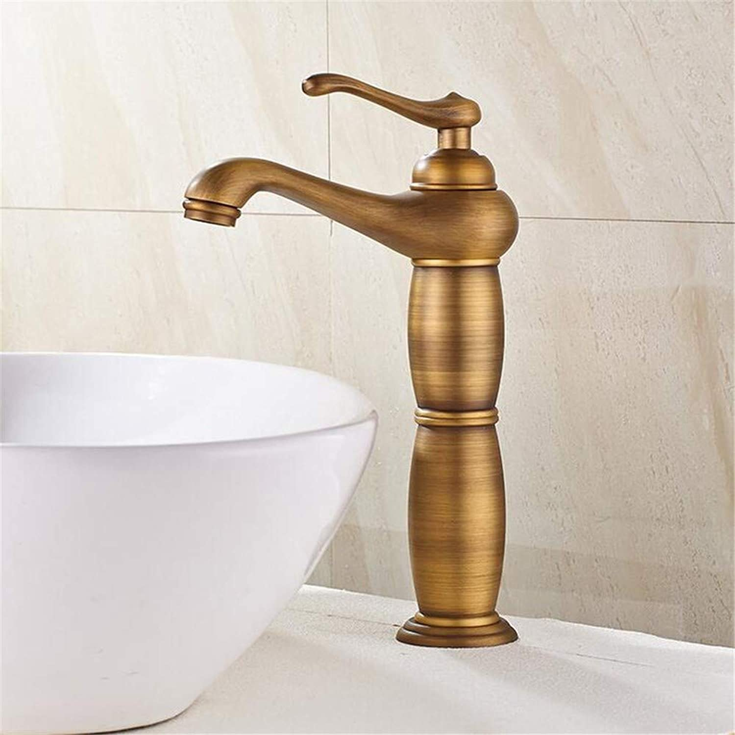 Basin Mixer Tap ?All Copper European Hot and Cold Faucet Antique Basin Faucet Heightening Single Hole Above Counter Basin Faucet Retro Magic Lamp Faucet