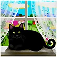 CafePress - Black CAT Window Tile Coaster - Tile Coaster, Drink Coaster, Small Trivet