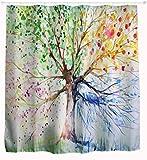 GYMNLJY Bunter Baum 3D Printing wasserdichte Duschvorhang Polyester waschbar Blackout Bad Dusche Rollo für Bad hängenden Vorhang abgeschnitten , 150x180
