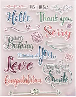 Hello Love Birthday Phrase Words Sentiments Greeting Cards Rubber Clear Stamp/Seal Scrapbook/Photo Decorative Card Making Clear Stamp