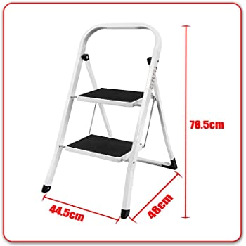 Heavy Duty Steel 2 Step Ladder Portable Compact Folding Metal Stepladder Stool Ideal for Children
