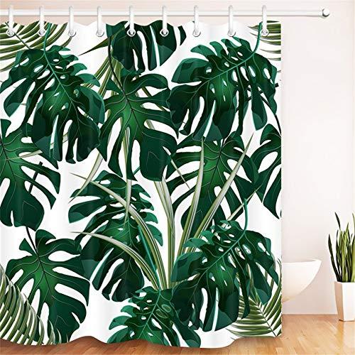 LB 180x180cm Duschvorhang Dunkel Grün Monstera Blätter Wasserdicht Anti Schimmel Weiß Polyester Badezimmer Gardinen mit 12 Haken,Tropisch Wald Pflanz