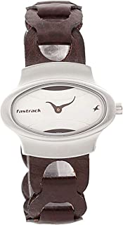 Fastrack Women's White Dial Leather Band Watch - 6004SL01