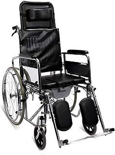 トランスポート車椅子折りたたみ式2ハンドブレーキ電気メッキステンレススチールフレームレザー防水生地と座席のベットパン付き高齢者障害者障害者