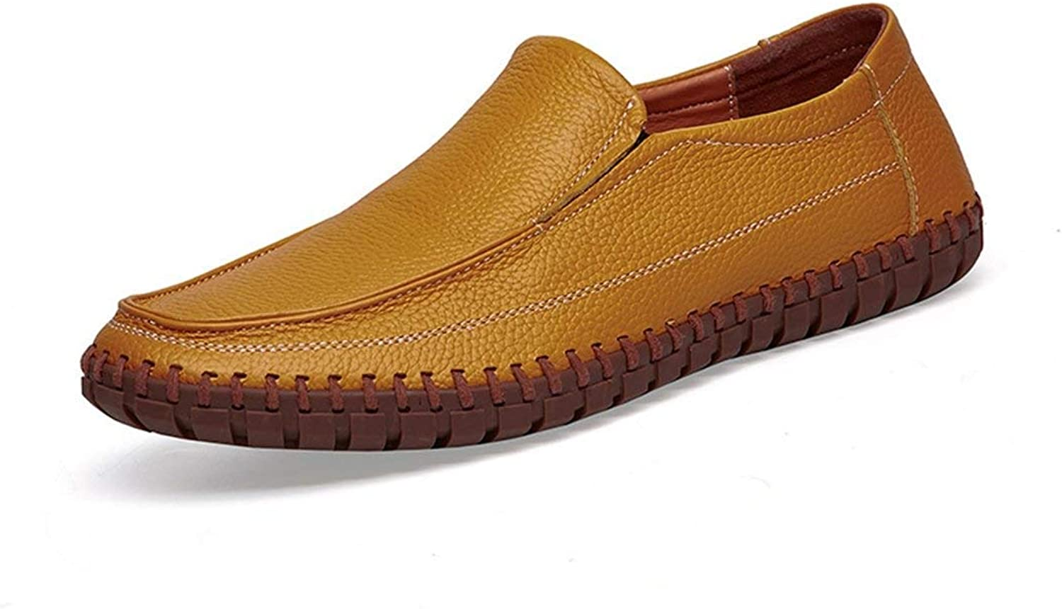 ZHRUI Boy's Men's Stitched Solid Casual Spring Loafers (color   Yellow, Size   6 UK)