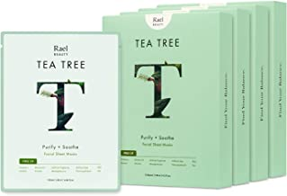 Rael Bamboo Face Sheet Mask - Natural Facial Mask with Tea Tree Oil and Cica Extract for All Skin Types, Vegan and Botanic...