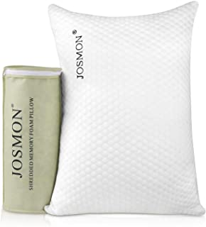 Josmon Shredded Memory Foam Pillow, Sleeping Bed Pillows for Back Stomach Side Sleeper with Washable Zipper Cover - Queen Size