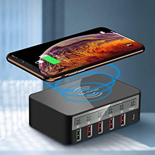 Universal Wireless Charger 5 USB Ports QC 3.0 Fast Charger USB Charging Station Dock LCD Voltage Current Display,for Mobil...