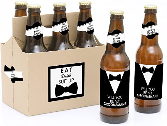 Suit Up - Will You Be My Groomsman Decorations for Men - 6 Beer Bottle Label Stickers and 1 Carrier