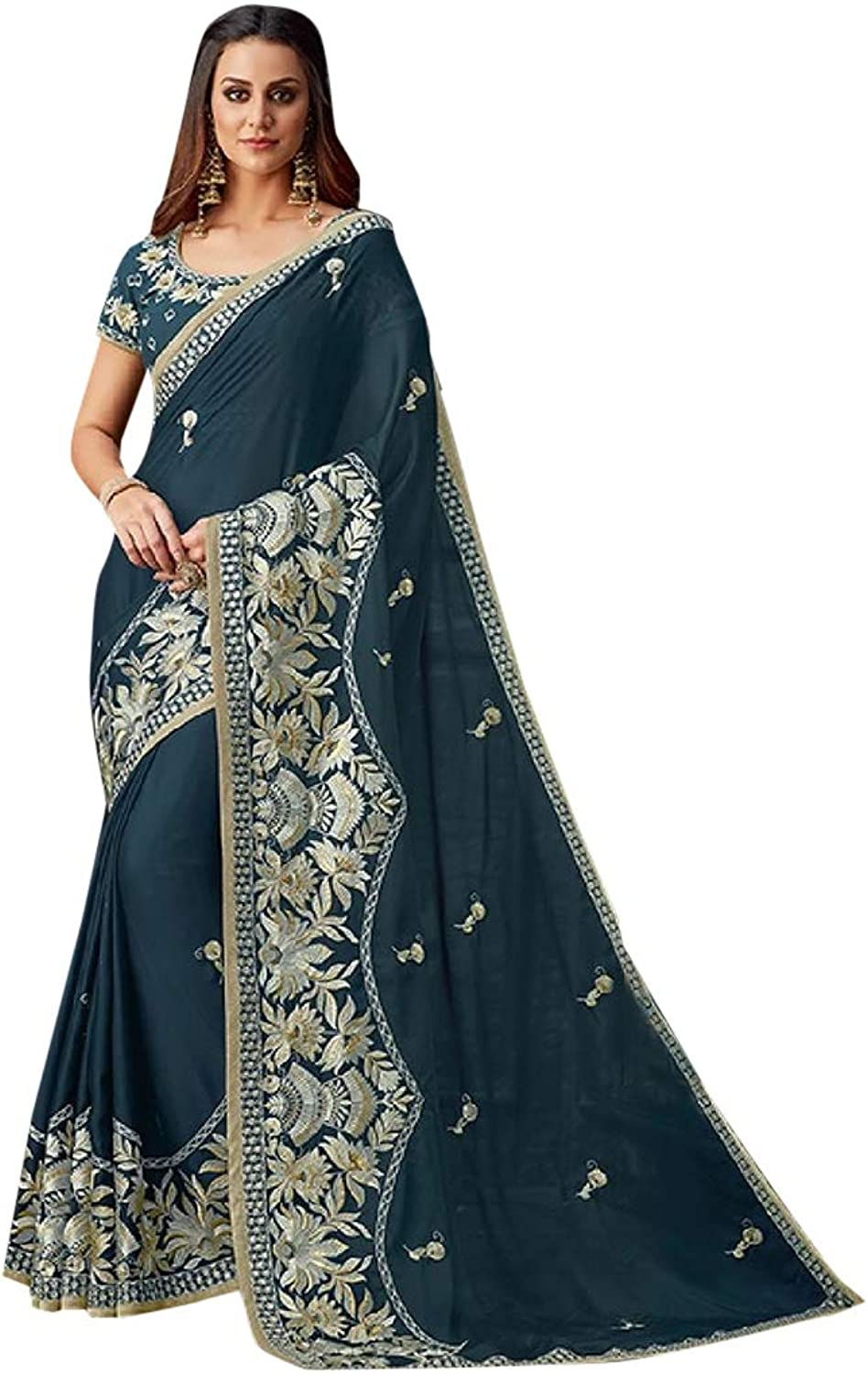 Indian Ethnic Party Wear Heavy Border Saree With Blouse Designer Collection 7357