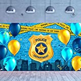 Police Party Photography Banner Police Department Badge Blue Brick Wall Backdrop Police Birthday Warning Tape Background for Police Boys Party Supplies Wall Decoration, 72.8 x 43.3 Inch