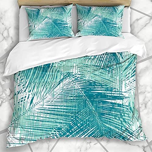 7788 Juego de ropa de cama – Patrón de hoja de palma sobre todos los banderines gráficos, funda de edredón de microfibra cepillada con fundas de almohada – Super King (260 x 220 cm)