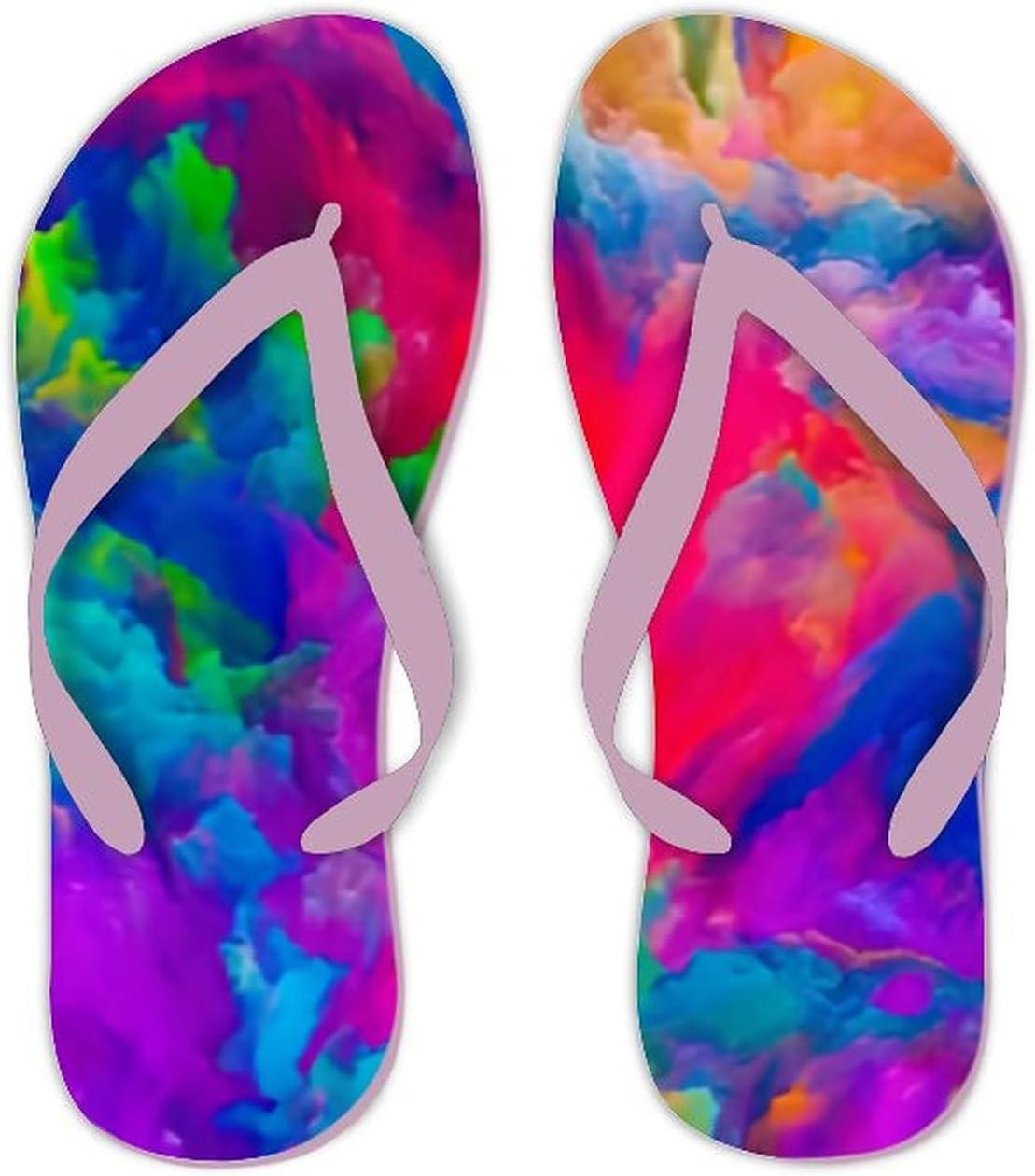 Summer Flip Flops for Men Women Colors Imagination Series Colorful Soft Lightweight Non Slip Sandals for Shower Beach Pool Bathroom Flat 9