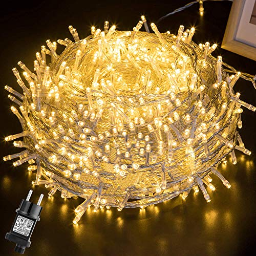 Luces Navidad Exterior 100M 500LEDs,GlobaLink Luces Arbol Navidad IP44 Impermeable,Guirnaldas Luces Exterior Interior 8 Modos Luz,Decoracion Navidad Patio,Jardín,Habitación,Boda con Tambor,50 Bridas