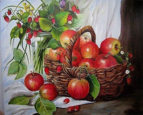 Schilderen op nummer DIY olieverfschilderij voor kinderen volwassenen beginners 40 * 50 cm met ingelijst rode appels in de mand