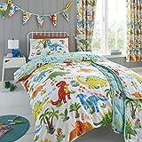 Happy Linen Company Girls Boys Kids Cute Dinky Dinosaurs Single Reversible Duvet Cover Bedding Set