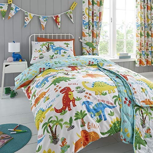 Happy Linen Company Girls Boys Kids Cute Dinky Dinosaurs Double Reversible Duvet Cover Bedding Set