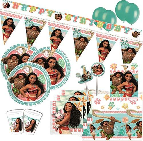 61 piezas Disney Vaiana Party Deko Set para 6-8 niños