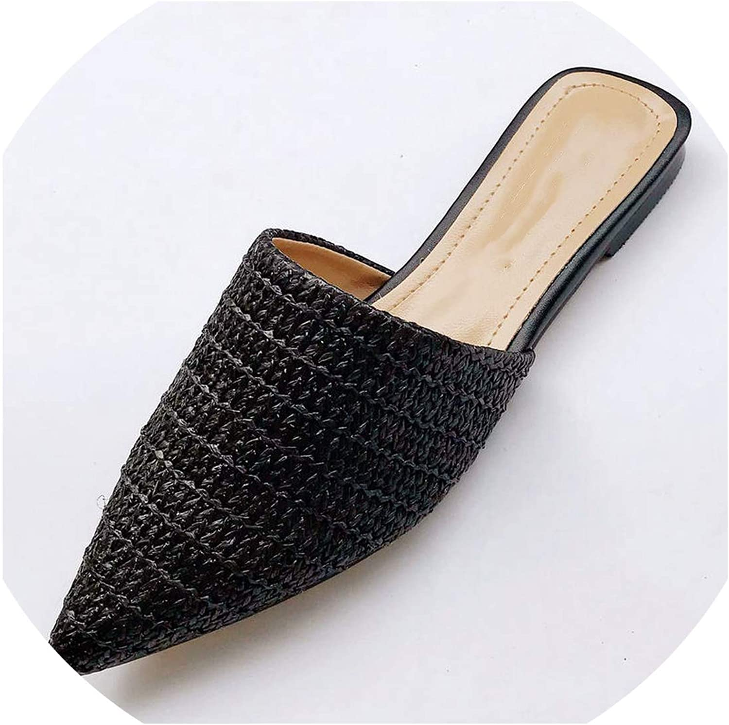 Fairly slippers Weave Flat shoes Woman Mules shoes Pointed Toe Half Slippers Outside Slides SX1962