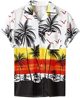 HOTTEE Men's Tops Short Sleeve Round Neck Shirts Loose Shirts Button Up Hawaiian Loose Tops