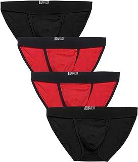 wearella Men's Basic Underwear 4 Pack Cotton Briefs Assorted Boxers Low Rise Pouch Briefs