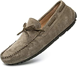 Men's Casual Driving Soft Flats Comfortable Slip On Loafers Boat Shoes Breathable Suede Leather Moccasin