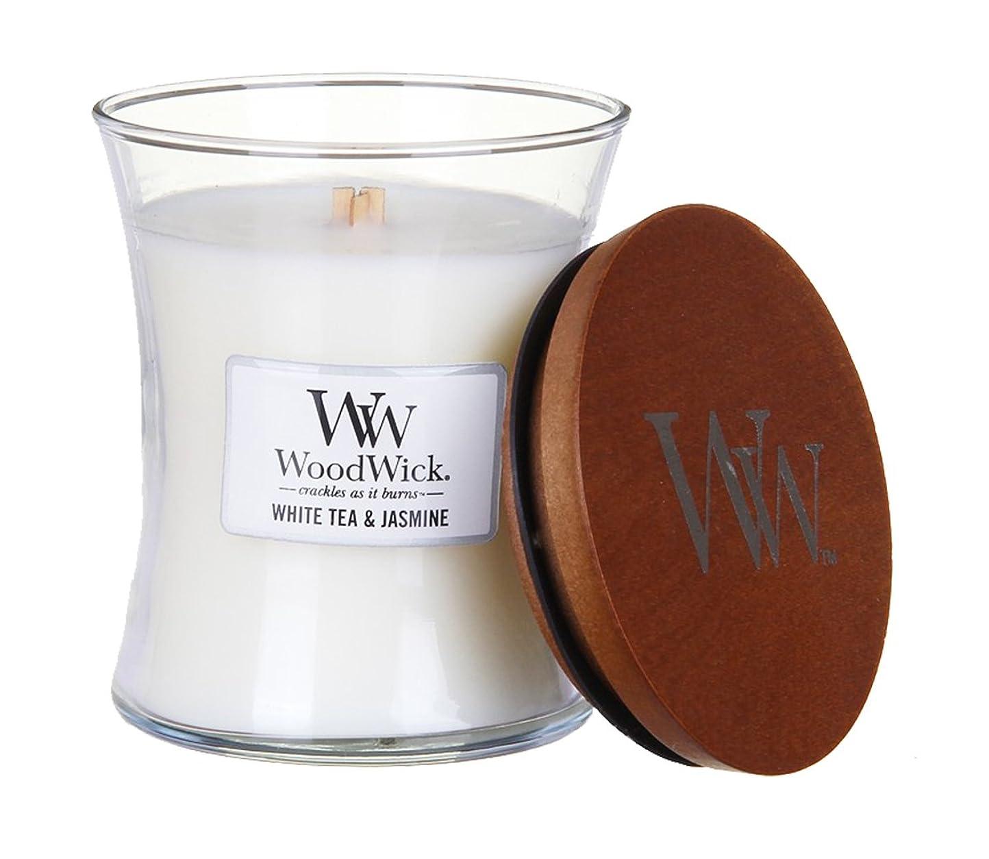感じる脳売上高ホワイトTea Jasmine?–?WoodWick 10oz Medium Jar Candle Burns 100時間