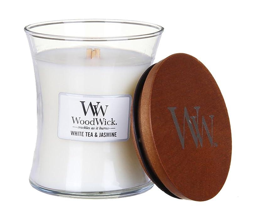 スキャンダラス賛美歌苦しめるホワイトTea Jasmine?–?WoodWick 10oz Medium Jar Candle Burns 100時間