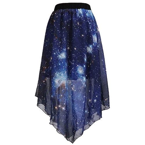 70a151c2467 SAYM Women Pleated Chiffon Galaxy Cosmic Digital Printed Skirts