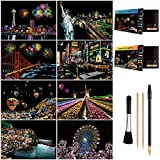 Scratch Art for Teens & Adults, Rainbow Engraving Painting Landscape Scratchboard(A4) Crafts Set: 8 Sheets with 4 Tools - New York, Statue of Liberty, Golden Gate Bridge, Manarola (America/Europe)