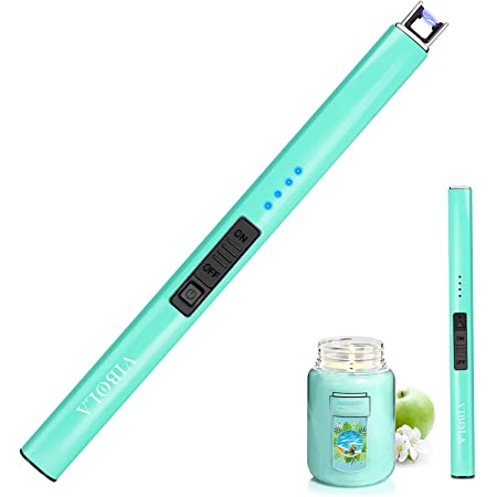 Rechargeable Lighter Electric Candle Lighters Arc Plasma Flameless Windproof USB Lighter Multi-Safety Protection Teal Blue