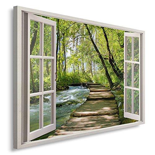 Feeby Cuadro en Iienzo 1 Parte 120x80 cm Imagen Impresión Pintura Decoración Cuadros de Una Pieza, Pasarela de Madera Bosque Naturaleza Verde