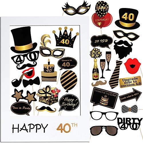VINFUTUR 35 pz Photo Booth Compleanno 40 Anni Gadget Foto Props Accessori Kit Compleanno Fotografica Puntello Decorazioni DIY per Festa Celebrazione