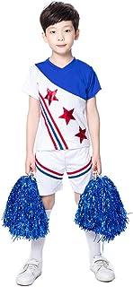 子供のVネックチアリーディング衣装、 小学生と中学生の男の子と女の子のゲームのチアリーディング衣装 A-単語のスカートダンス衣装、 ハロウィン/ロールプレイ/ダンスコンクールに適し