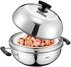 HRXD Multi-purpose Single-layer Steamer Stew Pot Soup Pot 304 Stainless Steel Pot With Steam Grid 28CM Induction Cooker Un...