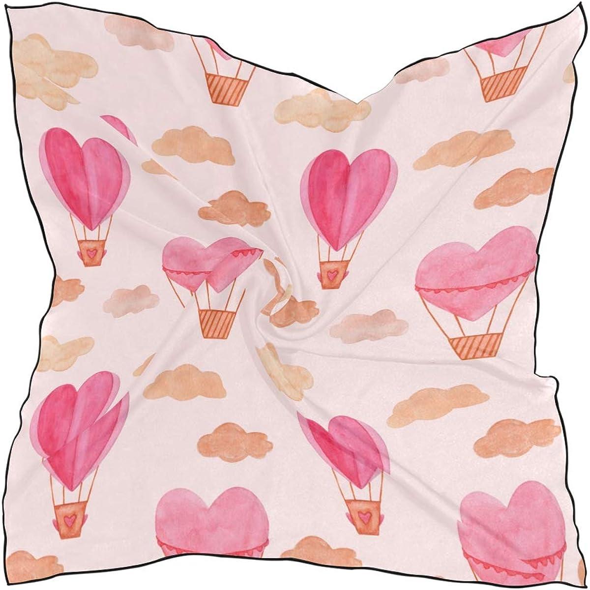 Soft Polyester Silk Scarf Fashion Print Cartoon Love Air Ballon Scarfs Women Head Scarf Travel Scarf Multiple Ways Of Wearing Daily Decor