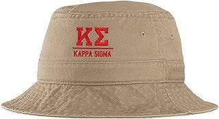Men's Kappa Sigma Fraternity Greek Letter Bucket Hat in Khaki