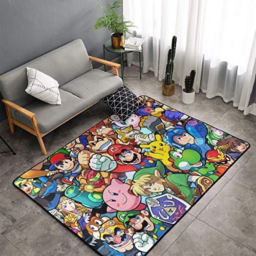 XIAODONG La leyenda de Zelda Super Mario Smash Bros Kirby Alfombra muy suave para decoración artística de poliéster para sala de estar, dormitorio, cocina, dormitorio para niños, 60 x 39 pulgadas