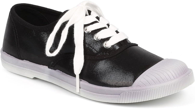 Wild Diva DF41 Women Metallic Cap Toe Classic Lace Up Fashion Sneaker - Black