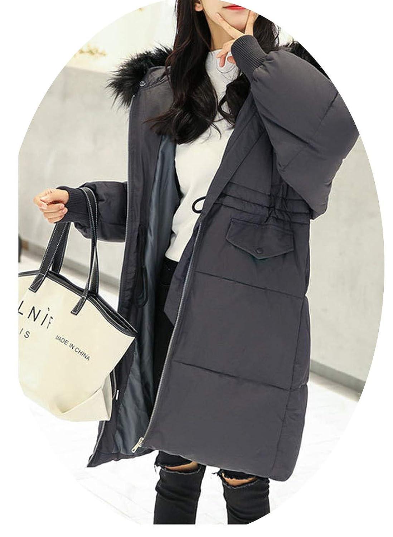 長い綿の服女性の冬の厚いひざの綿の服緩いパンジャケットのジャケット,灰色,M