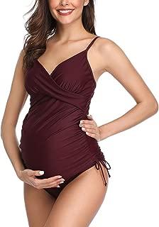 Women Maternity Swimwear Solid Retro Plum Wrap Front Tankini Two Piece Swimsuits
