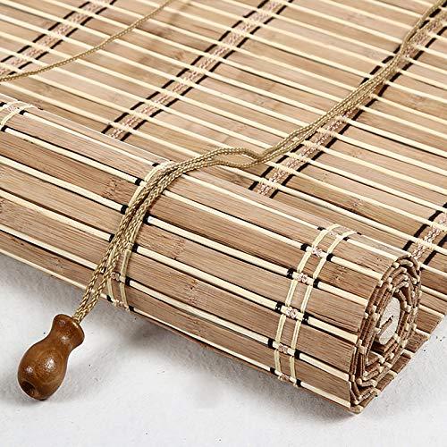 Geovne Cortina de Bambú Natural,Persiana de Bambú con Accesorios,Persiana Enrollable de Bambú,80% de Protección UV,Estores de Bambú,para Oficina Y Hogar,Tejido a Mano (130x200cm/51x79in)