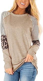 Women's Leopard Print Color Block Tunic Round Neck Long...