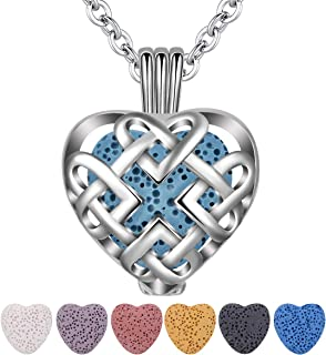 INFUSEU Celtic Love Eternity Knot Essential Oil Diffuser Necklace with 7 Heart Lava Rock Stones for Women Aromatherapy Jewelry