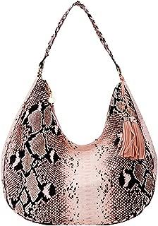 Women's PU Elegant Handbag Snakeskin Hobo Bags Large Tote Luxury Top-Handle Satchel