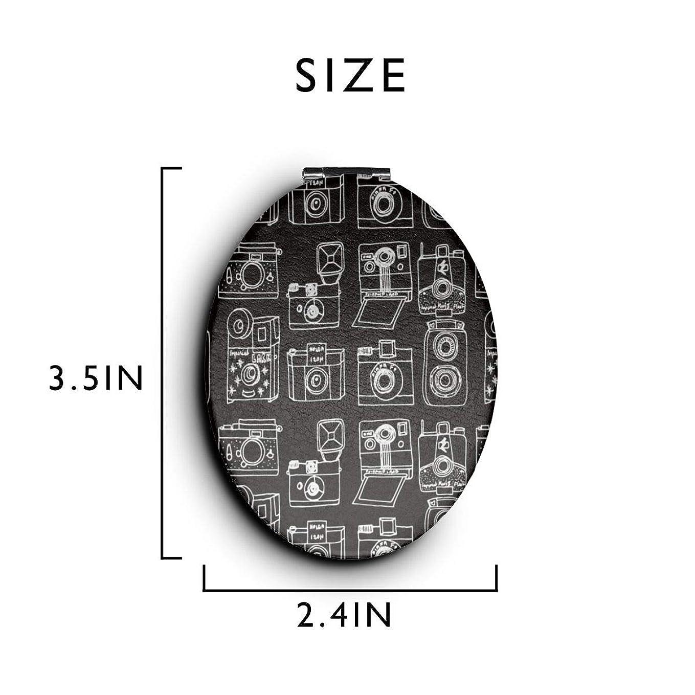 ラインボイコット常識化粧鏡 コンパクトミラー ビンテージカメラ 手鏡 携帯ミラー 折りたたみ鏡 拡大鏡 両面ミラー