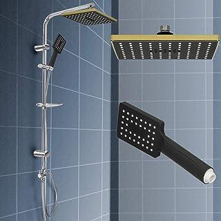 color negro YUNRUX Sistema de ducha con termostato termostato alcachofa de ducha con alcachofa de mano y columna de ducha con termostato