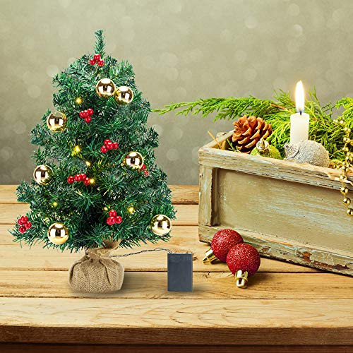 NMFIN Mini Christmas Trees, Tabletop Decorated Xtmas Trees with Red Berries and Gold Balls, Miniature Christmas Trees with Clear Lights, Golden and Red